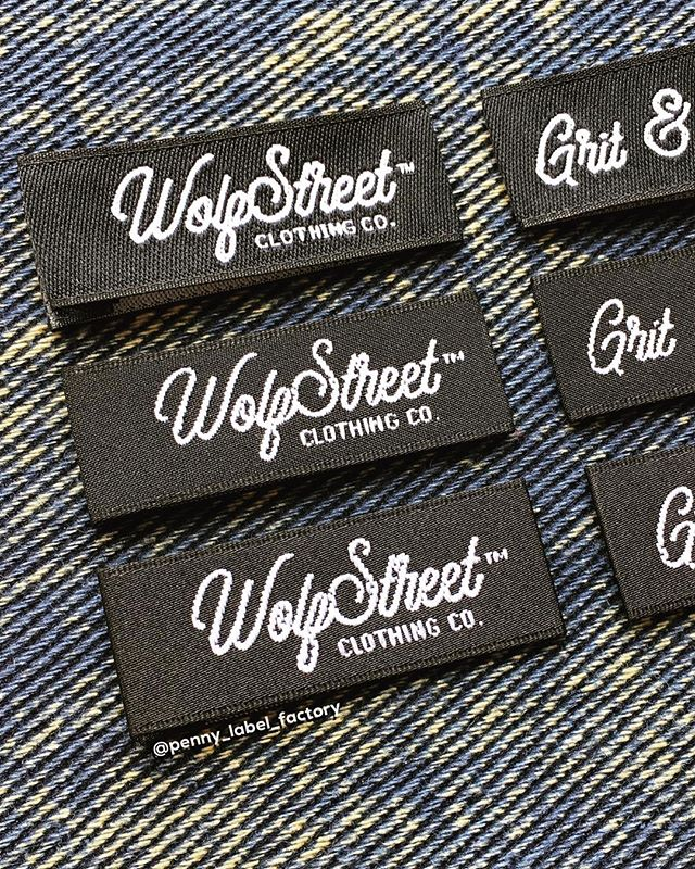 Hem tag samples of three different textures that we made for @wolfstreetatl 😎 To request sample packs or free quotations please email instagram@pennylabel.com 🖥