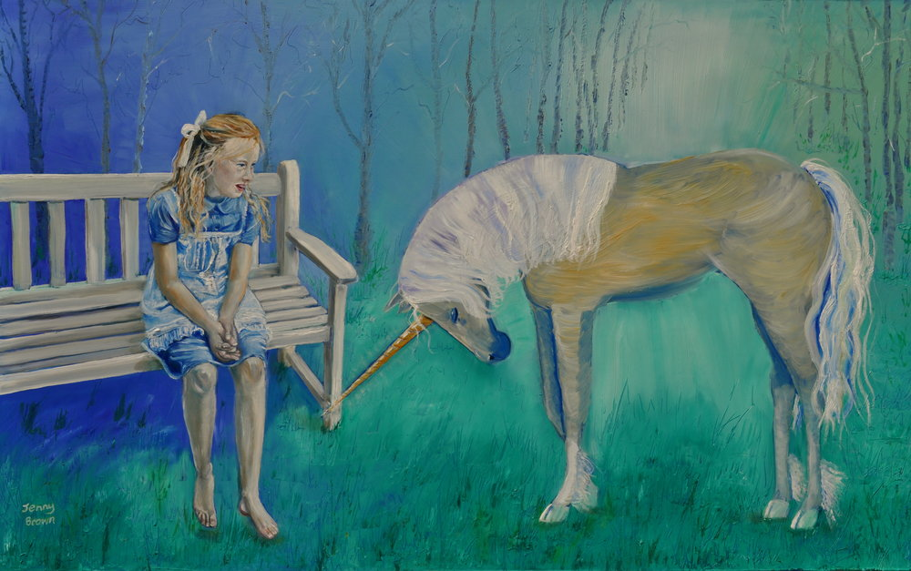 Starlit Unicorn Oil on Board 120x60 cm SOLD