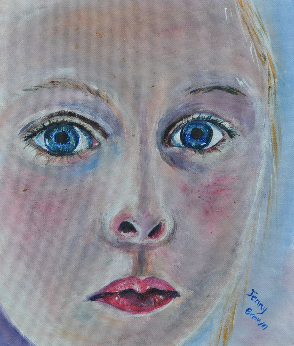 Wide-eyed in Wonder Acrylic on Canvas 28x23cm
