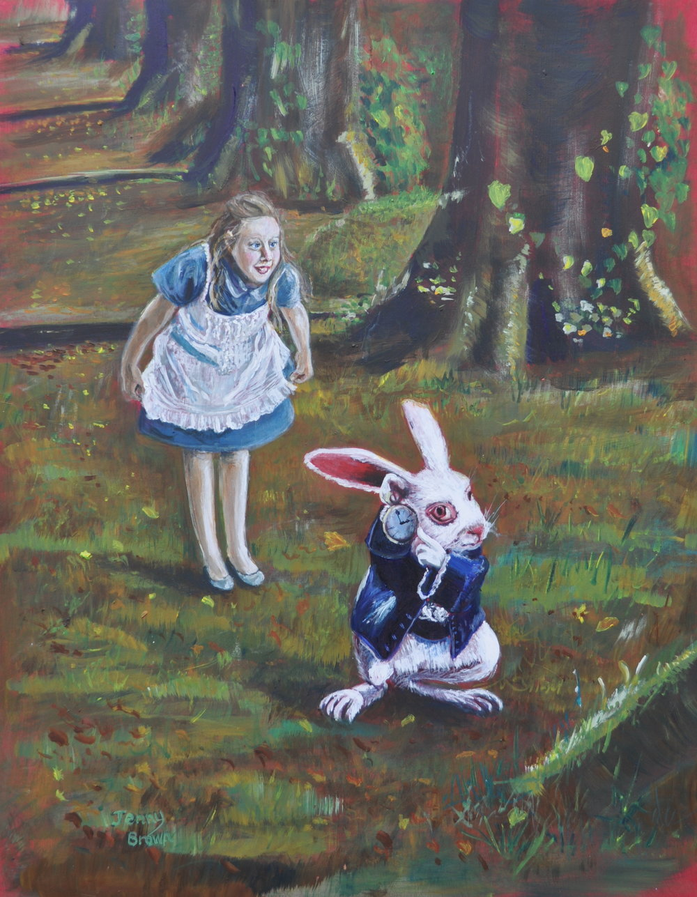 The White Rabbit    Acrylic on Board 35x46cm