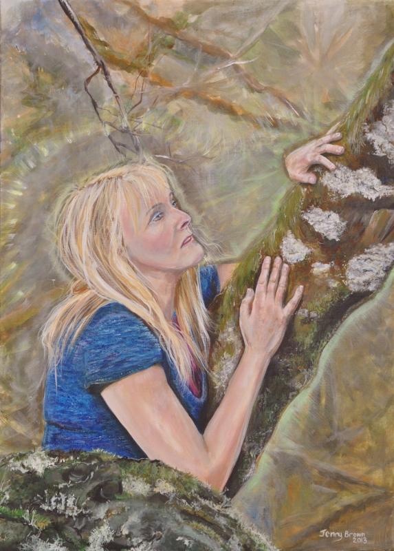 Self Portrait with Birch  Acrylic50x70cm