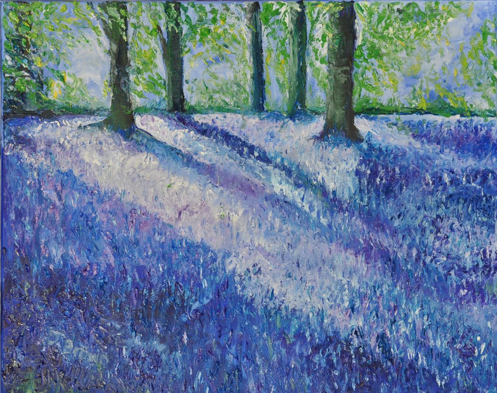 Bluebell Bliss - 2018 series of paintings of woodland. The dreamiest carpet has to be the swaying bluebells in May. Oil palette knife.