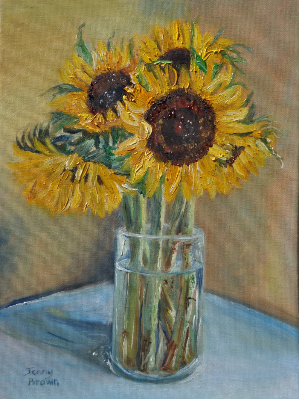 Sunflowers - An evocative oil-rendering of woody stems refracted through water in a glass vase. The stems are often overlooked or hidden: I wanted to bring the beauty of water to magnify what is usually unseen.