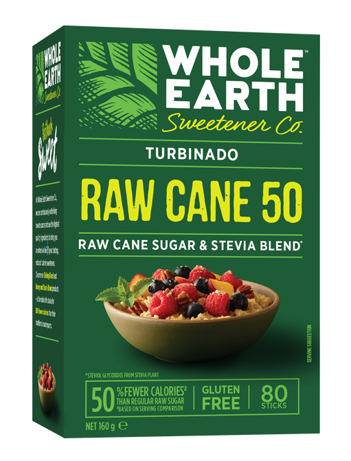 WHOLE EARTH RAW CANE 50All Natural SweetenerRaw Cane Sugar & Stevia Blend - Made from a blend of raw cane sugar and stevia, these golden brown crystals are here to start your day with a little sweetness. This crunchy, delicious sweetener with half the calories of sugar per serving goes great with your coffee, fruit or cereal.* Just 1 stick (8 calories) sweetens like 1 teaspoon of traditional raw cane sugar (16 calories).Made with all natural non-GMO ingredients.