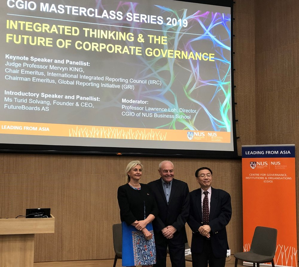 From left to right: Ms Turid E. Solvang , Founder & CEO FutureBoards,  Professor Mervyn E. King,  Chair Emeritus International Integrated Reporting Council, Chair FutureBoards Advisory Board,  Professor Lawrence Loh.  Director CGIO of NUS Business School