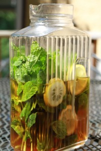Mint Sun Tea:   Simply snip and wash fresh your choice of mint and then pack loosely in a jar. Fill with water and leave in the sun for the day. After 6-8 hours, strain the mint leaves from the tea. Sweeten tea if desired and serve over ice.