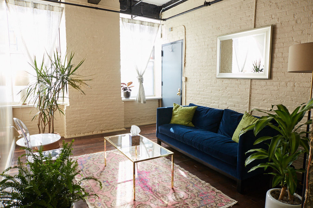"""Julia's office space in South Williamsburg. """"I love the character of South Williamsburg and the office has that vibe,"""" she says."""