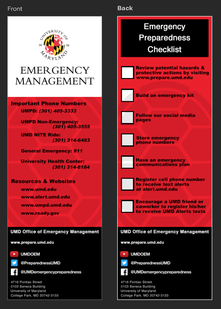 UMD Emergency Management Bookmark Design