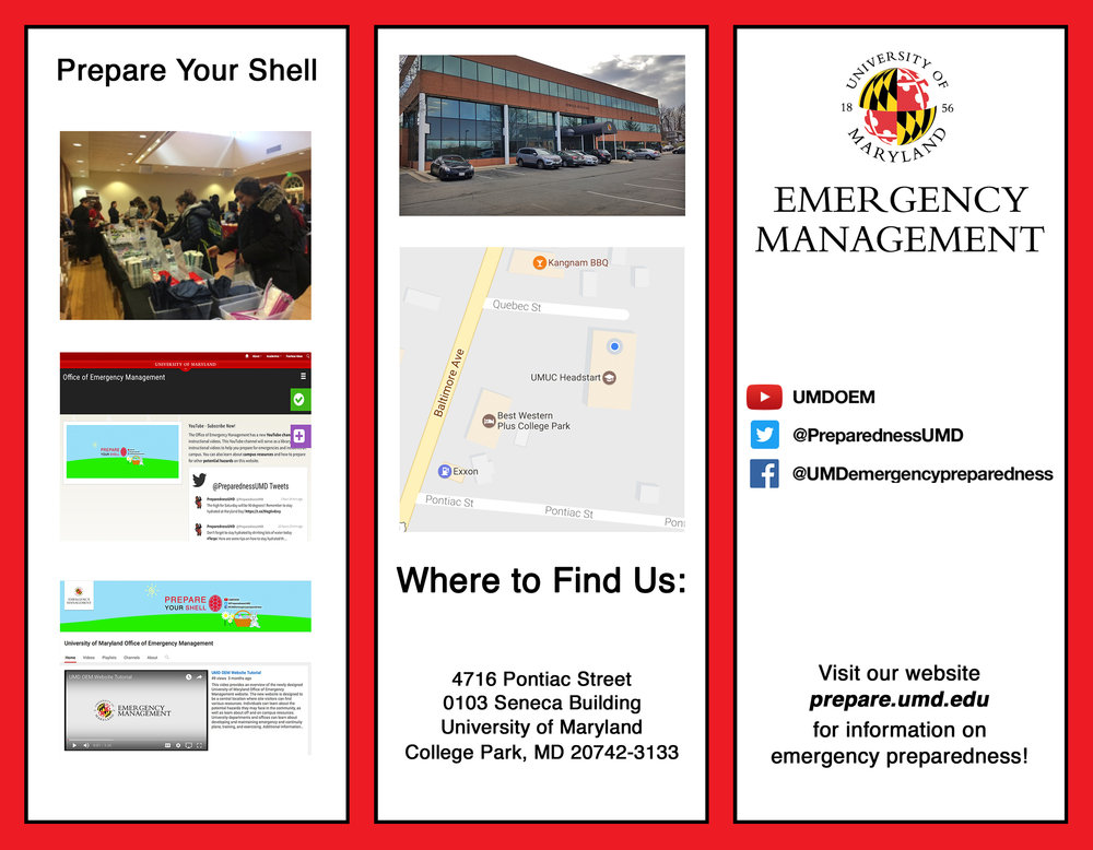 UMD Emergency Management Brochure Design