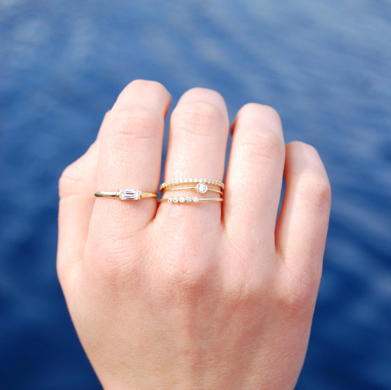 9ct Gold CZ solo bezel ring — SEOL + GOLD