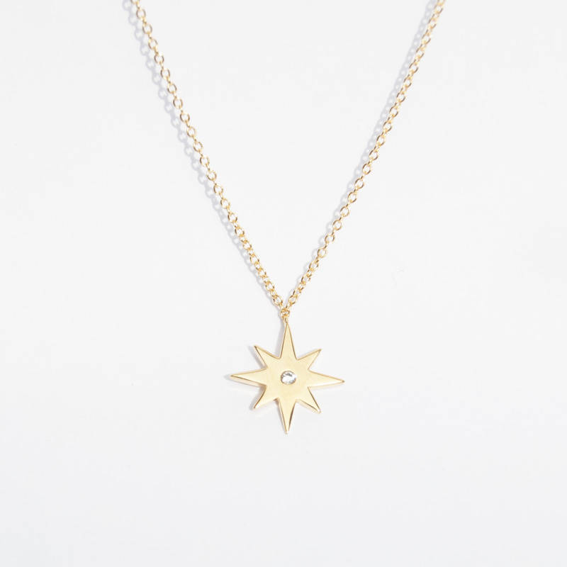 diamond necklace vermeil lyst rielle zirconia cubic pendant gabi gold in jewelry north metallic star