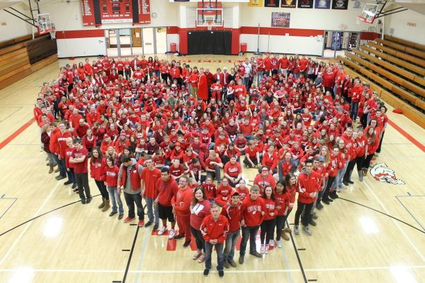Boscobel Elementary School students joined Gundersen Boscobel Area Hospital and Clinics in its efforts to Go Red for Women to raise heart health awareness.