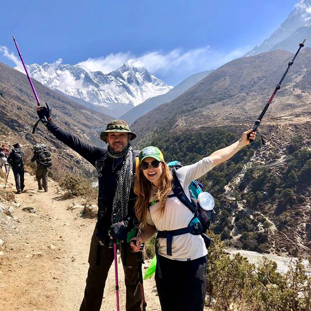 Jo and Tomasz on the way to Everest Base Camp