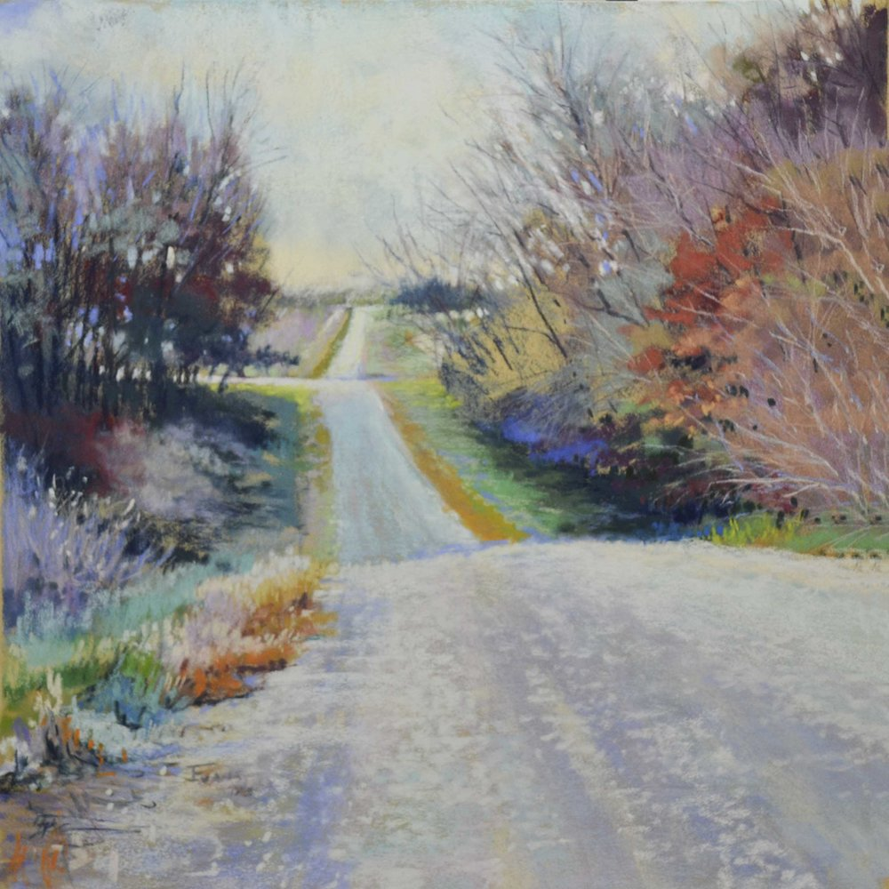 John Evans | Frosted Country Road | Pastel on Paper