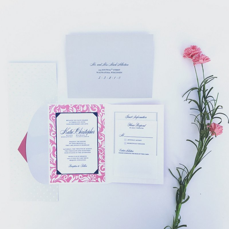 Coral Silver Wedding Invitations.jpg