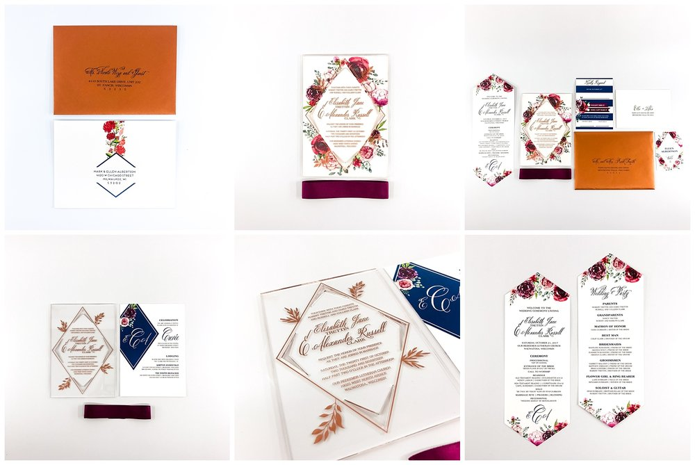 This unique set mixes geometric + florals to have a soft and hard element. We letterpressed in copper on acrylic for the invitation which already gives guest the expectation that this wedding will be elegant and well thought out. It heightens the excitement to touch and feel something so different!