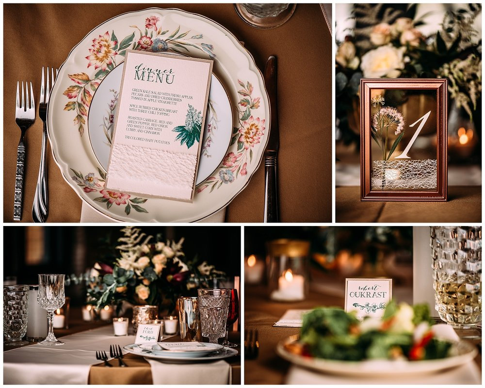 We loved the vibe at this wedding and the mixed use of paper on all decor pieces. Pressed flowers table numbers create an interesting twist on a framed number. We loved when couples want to try something different!