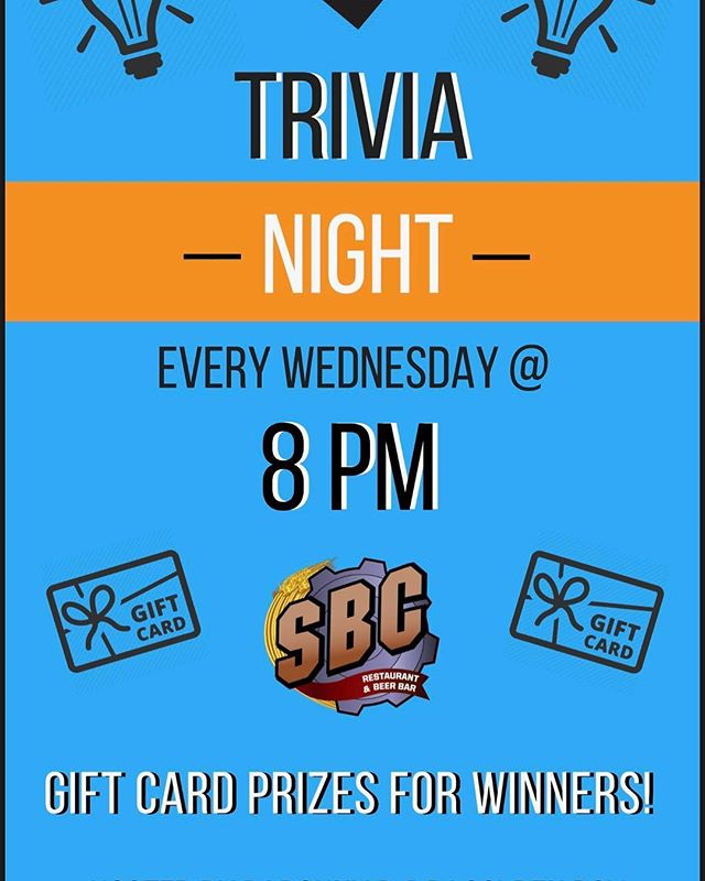 Come join us every Wednesday night for trivia!