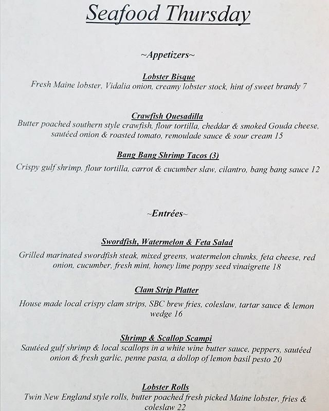 Seafood Thursday's are back!! Come enjoy!! Different menu every Thursday #sbcmilford #yummy #delish #delicious #seafood #seafoodthursdays #foodporn #foodie #foodies #foodisart #getinmybelly #followus #comengetit #dinner