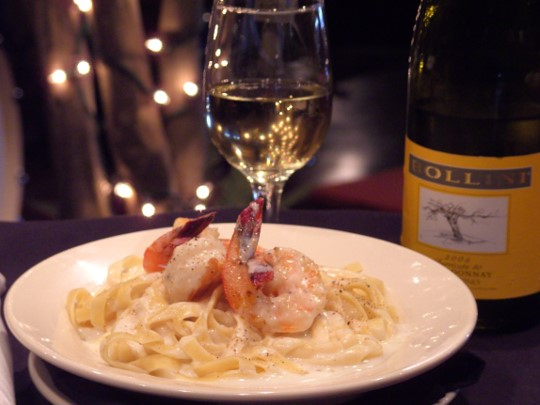 Our creamy Fettuccine Alfredo with jumbo shrimp.
