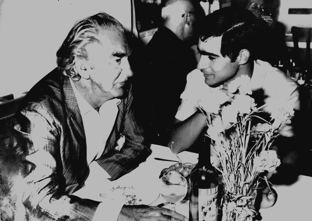 Owner Duilio Tani dining with his father, Luigi, circa 1968 in Rome.