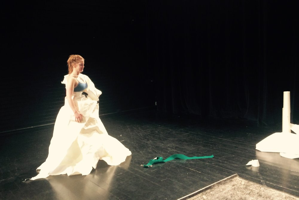 In the rehearsal room at NVT for Eat Me - playing with costume and silhouette manipulation.