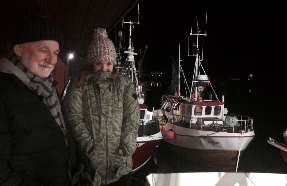 Out hunting for the Northern Lights in Stamsund with the Eat Me team.