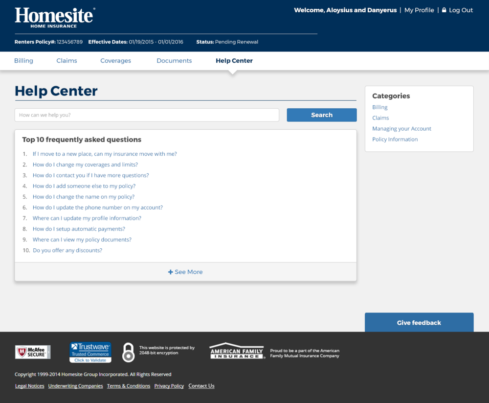 Design iteration for Help Center welcome page