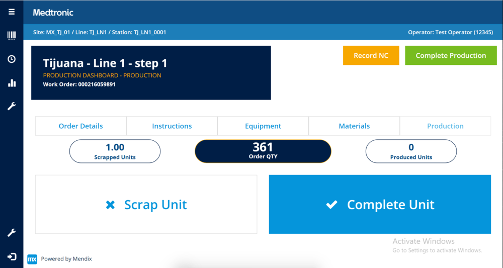 Preliminary mock-up for line operator production dashboard