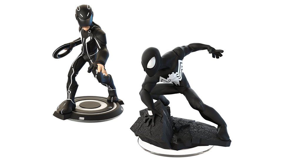 Disney Infinity  game figures from Tron and Spiderman