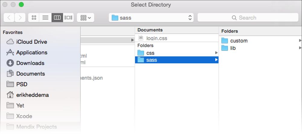 SASS folder in Mendix project directory. Credit, Mendix