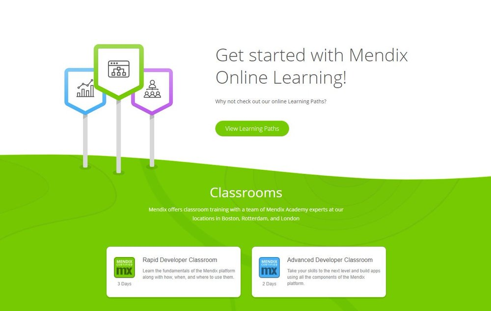 Screenshot, Mendix Academy home page. Credit, Mendix.