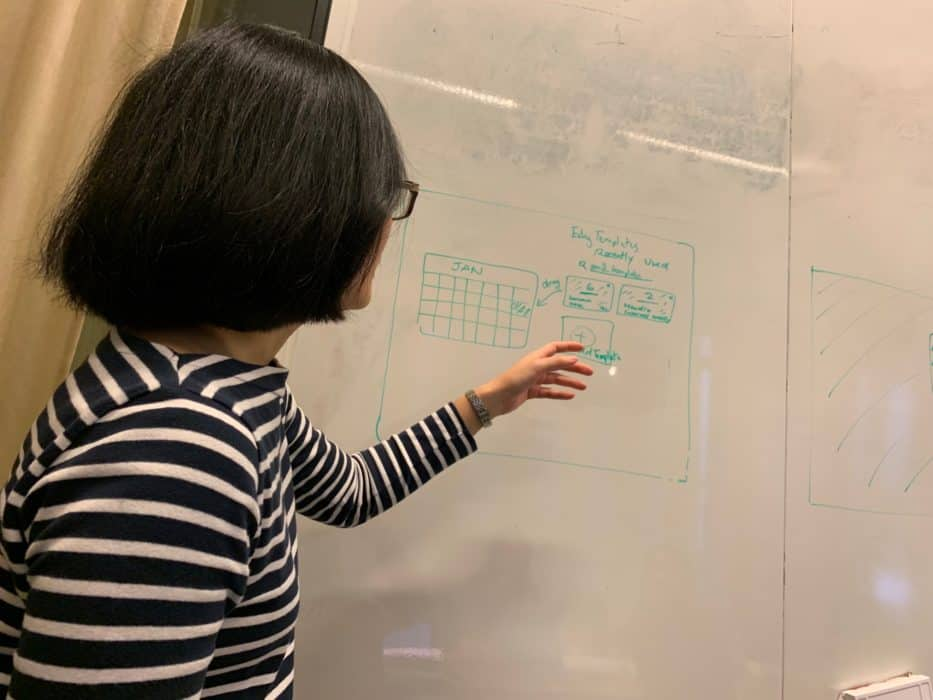 Sketching a storyboard on a whiteboard. IMG credit: Mendix, Inc.