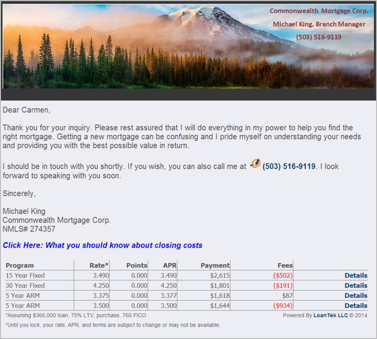 LoanTek Example Email