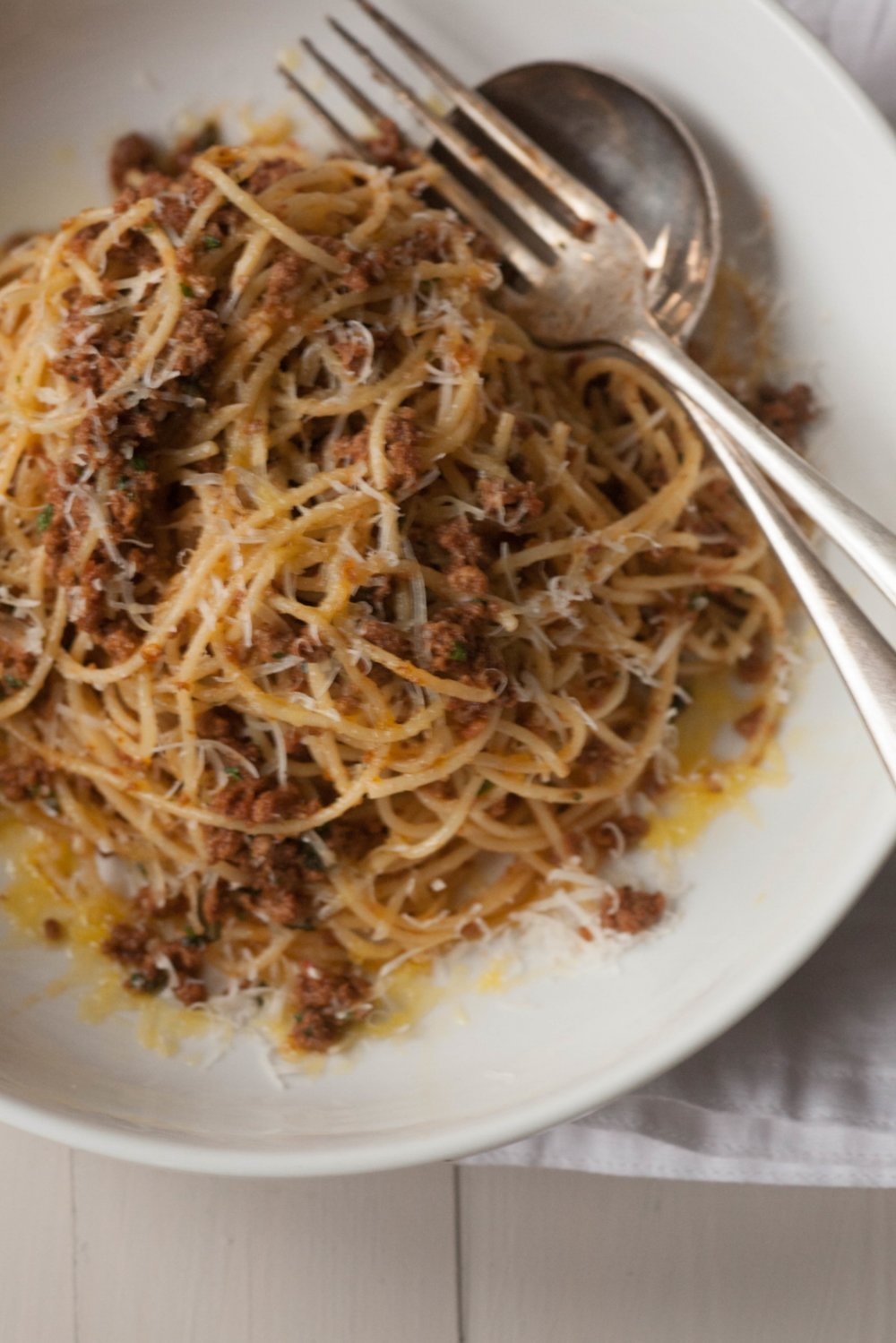Your prize for showing self restraint? - You've been good chefs and decided not to eat your lasagne until tomorrow. Your prize for showing self restraint? You've got plenty of ragu left over, have a big bowl of meaty spaghetti now….