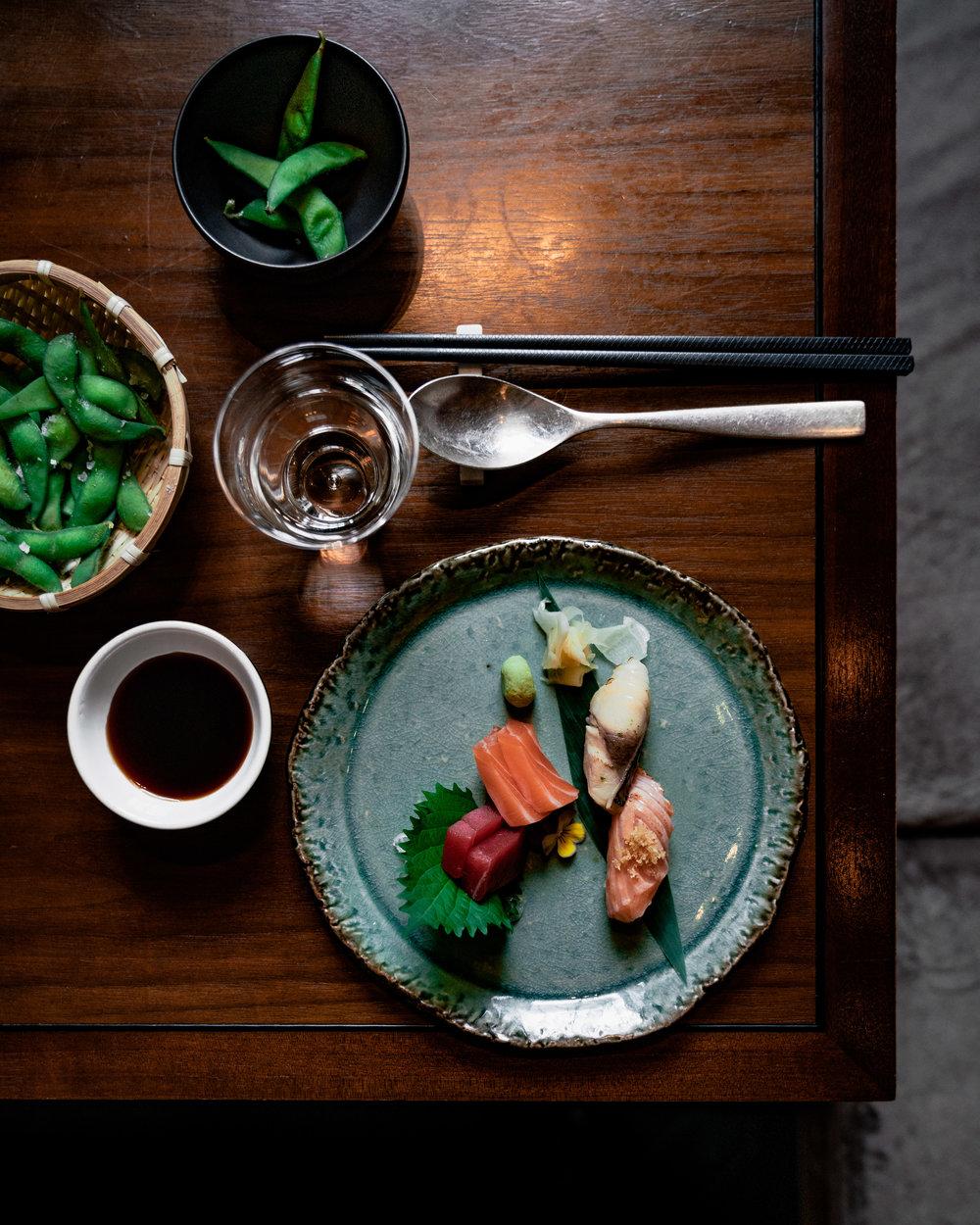 Selection of sashimi and nigiri