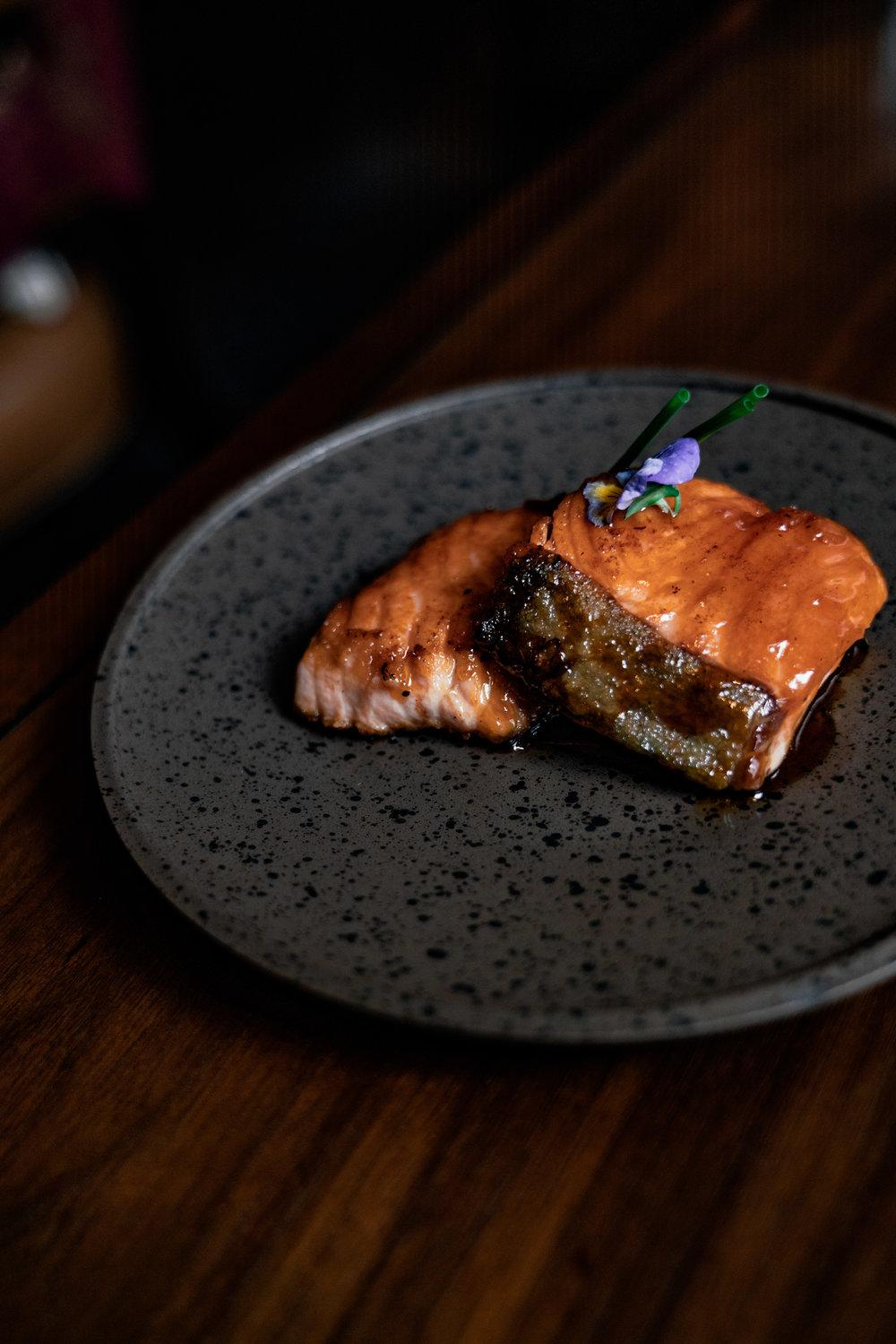 Pan fried fillet of Norwegian salmon in yuzu teriyaki sauce