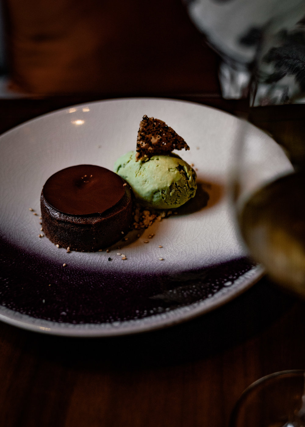 Chocolate moelleux with matcha ice cream