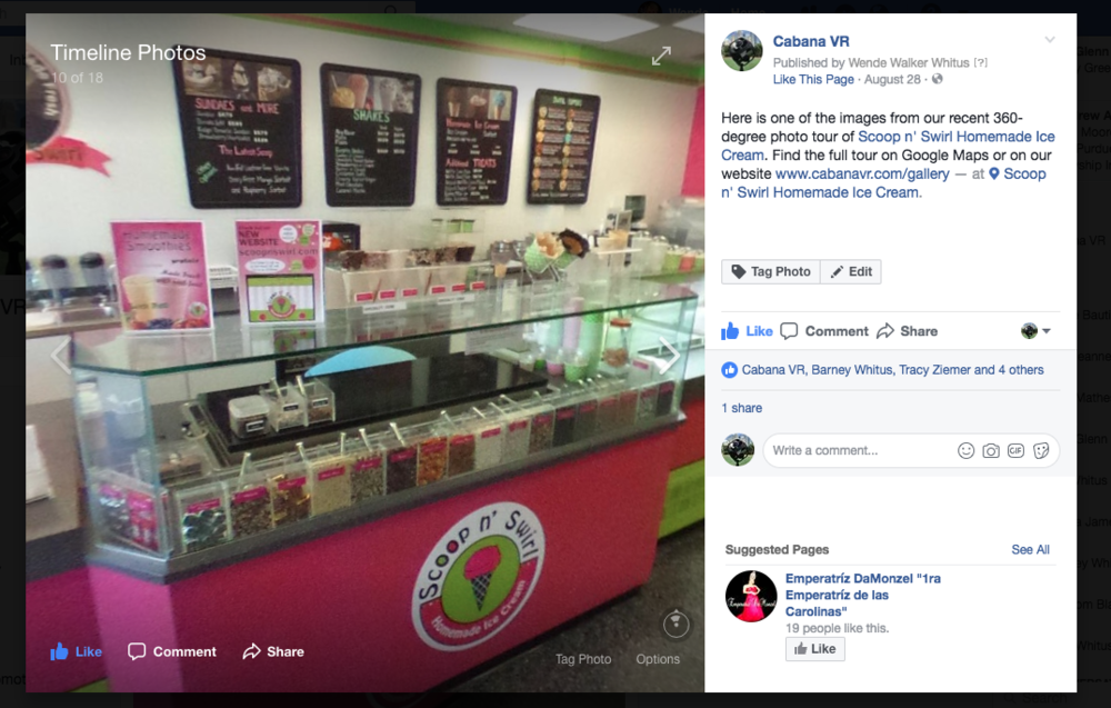 This 360-degree image generated  4 times the views  of a similar post about the same company which featured a traditional photo