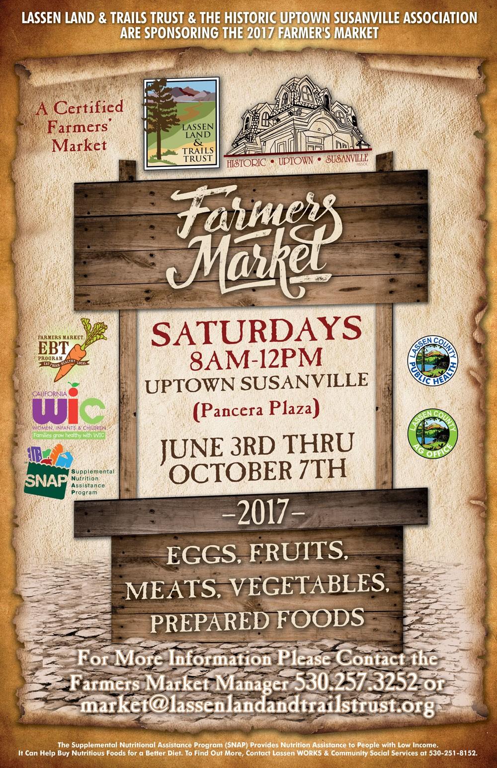 Farmers Market - Uptown Susanville(Pancera Plaza)8am - 12 pm