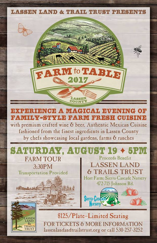 Farm to Table - Lassen Land & Trails Trust's 2nd annual Farm to Table Dinner will highlight the local farms, ranches, and gardens of Lassen County.