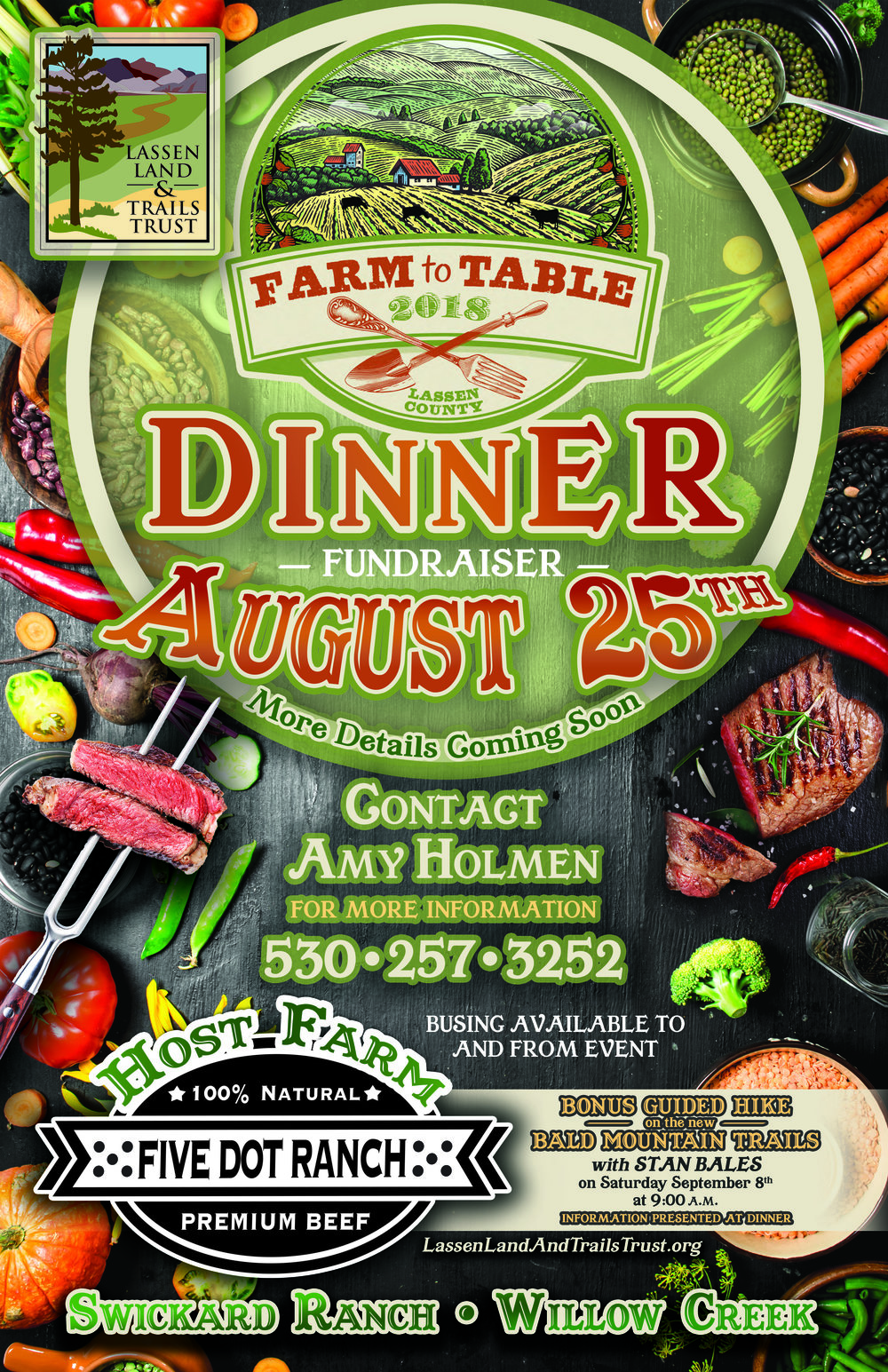 Farm to Table - Lassen Land & Trails Trust's 3rd annual Farm to Table Dinner will highlight the local farms, ranches, and gardens of Lassen County.