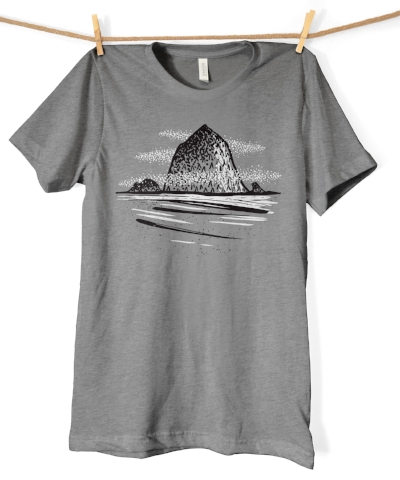 Super-soft tee featuring Cannon Beach's iconic Haystack Rock from small-batch shop  Five Acre Supply .