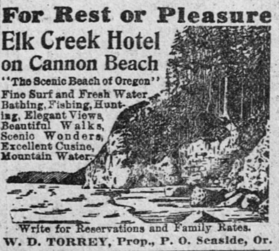 An ad for the Elk Creek Hotel from the July 16, 1911, edition of The Oregonian.