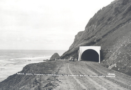The south entrance to the Arch Cape Tunnel shortly after construction was completed