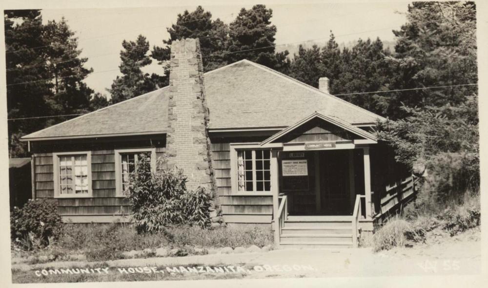 Real photo postcard of the Pine Grove Community House, Manzanita