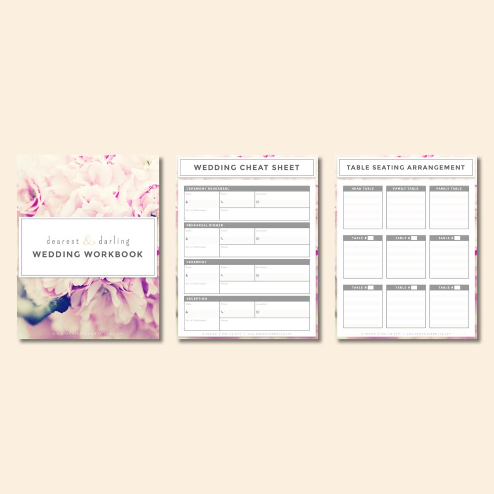 Elissa Mae Creative • Dearest & Darling Wedding Worksheet Concept Layout