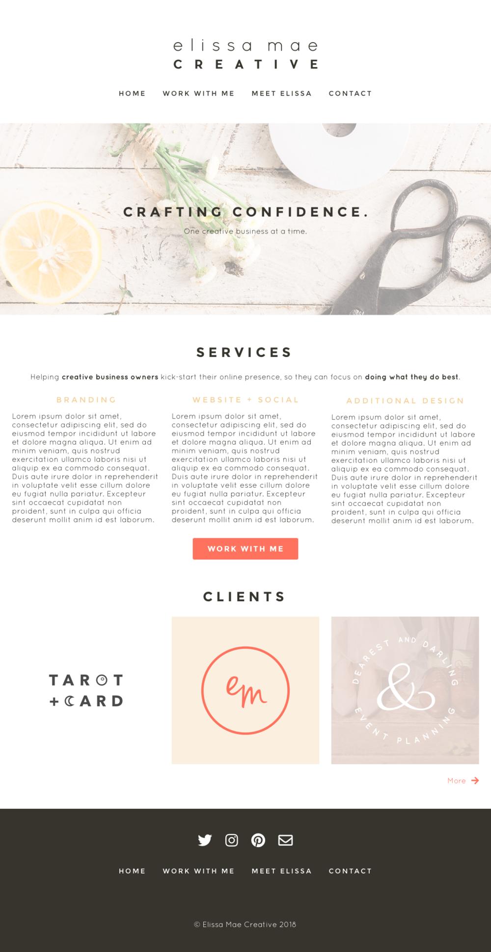Elissa Mae Creative Website Mockup