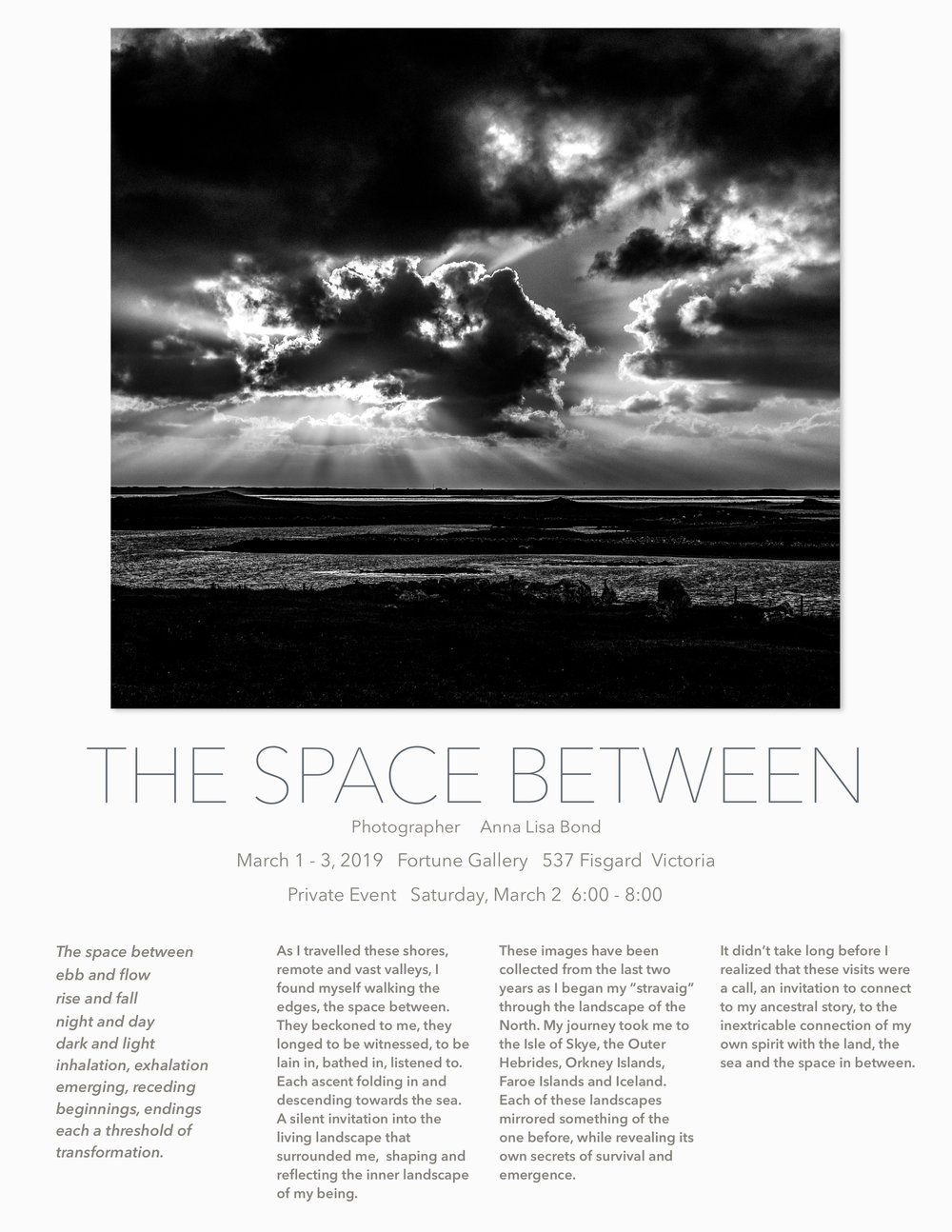 The Space Between - Anna Lisa Bond - March 1 - 3 2019