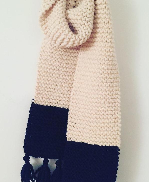 Tasseled garter stitch scarf